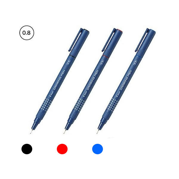 Pilot Black, Red and Blue 0.8mm Drawing Pens (3pcs) - Assorted [SW-DR-08]