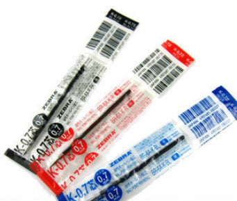 Zebra Black, Red and Blue 0.7mm Refills (3pcs) - Assorted [K-0.7]