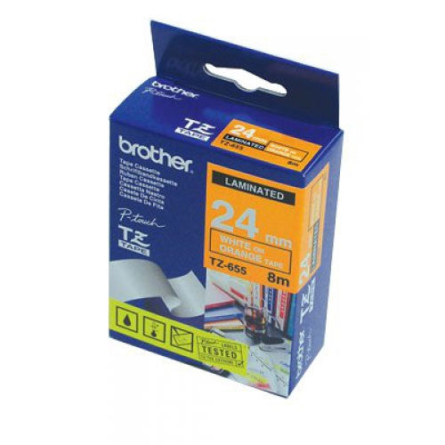 [Up to 15% Off] Brother TZ-655 Laminated 24mm Tape Cassette - White on Orange