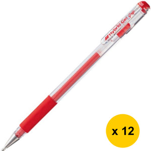 [MUCH] Pentel Hybrid Gel Grip K118 0.8mm Gel Roller Pen (12pcs) - Red Ink