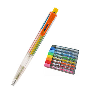 Pentel PH158ST1 Dark Orange Clip Pencil + CH2 Assorted Colors Refills (8pcs) - Assorted [PH158ST1+CH2]