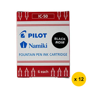 Pilot Namiki IC-50 Fountain Pen Ink Cartridges (12pcs) - Black Ink [IC-50-B]