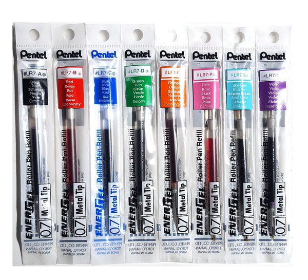 Pentel EnerGel Assorted Colors 0.7mm Metal Tip Liquid Gel Pen Refills (8pcs) - Assorted [LR7]