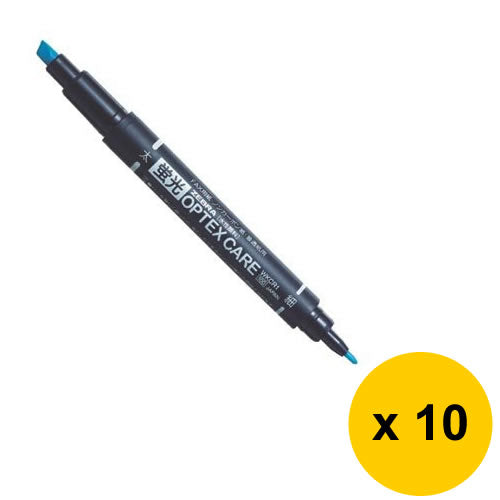 Zebra OPTEX CARE Fluorescent Marker (10pcs) - Blue [WKCR1]