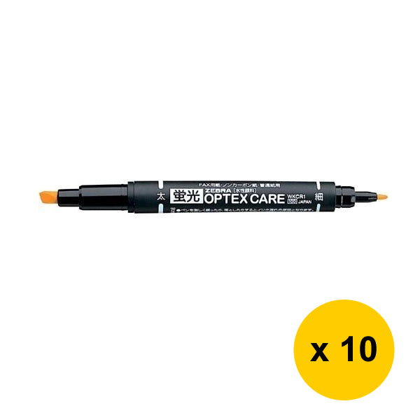Zebra OPTEX CARE Fluorescent Marker (10pcs) - Orange [WKCR1]