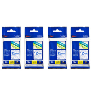 Brother Laminated 12mm Tape Cassette (Pack of 4) - Blue on Clear [TZe-133]