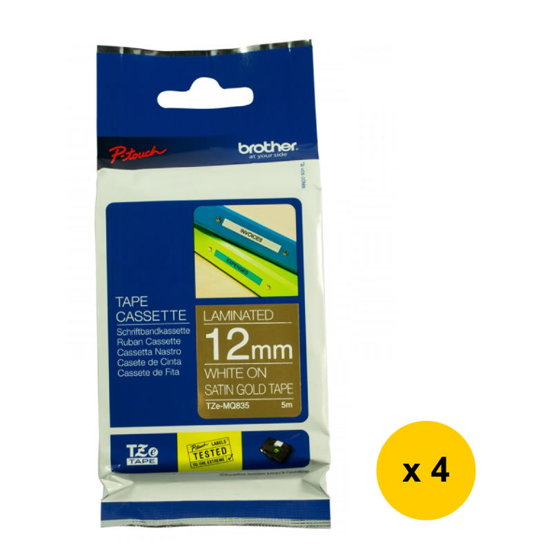 Brother Laminated 12mm Tape Cassette (4pcs) - White on Satin Gold [TZe-MQ835]