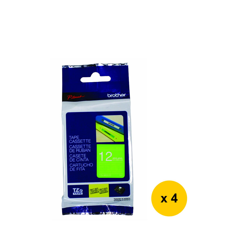 Brother Laminated 12mm Tape Cassette (4pcs) - White on Lime Green [TZe-MQG35]