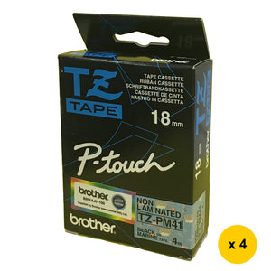 Brother Non-Laminated 18mm Tape Cassette (Pack of 4) - Black on Marine [TZ-PM41]