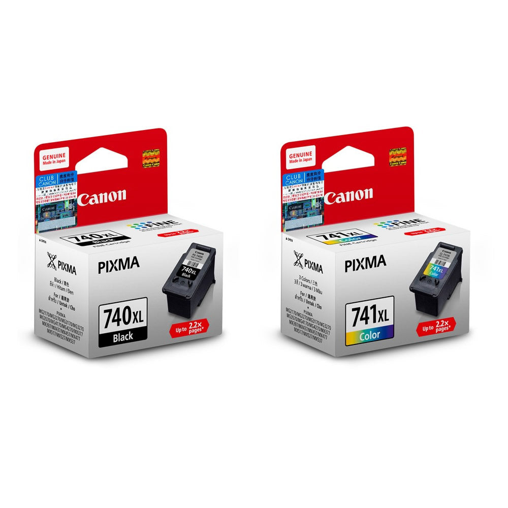 Canon PG-740XL and CL-741XL Ink Cartridges (for MG4270/MX537) (2pcs) - Assorted [PG-740XL+CL-741XL]