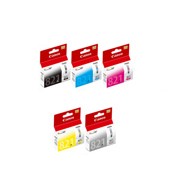 Canon Black, Cyan, Magenta, Yellow and Gray Ink Tanks (5pcs) - Assorted [CLI-821]