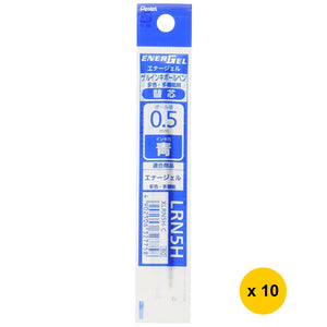Pentel ENERGEL XLRN5H 0.5mm Gel Ink Refill for Pens (10pcs) - Blue [XLRN5H-C]