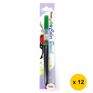 Pentel Arts Refillable Calligraphy Fude Color Brush Pen (12pcs) - Green [XGFL-104]