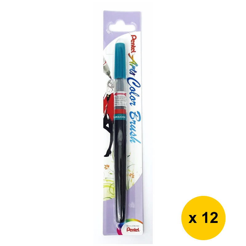 Pentel Arts Refillable Calligraphy Fude Color Brush Pen (12pcs) - Turquoise [XGFL-114]