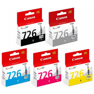 Canon Black, Cyan, Magenta, Yellow and Gray Ink Tanks (5pcs) - Assorted [CLI-726]