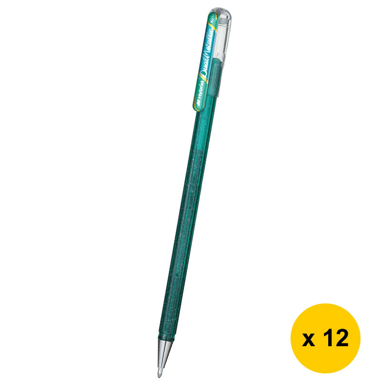 Pentel Hybrid Dual Metallic 1.0mm Liquid Gel Roller Pens (12pcs) - Green / Metallic Blue [K110]