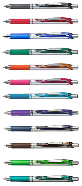 Pentel EnerGel Assorted Colors 0.7mm Retractable Liquid Gel Pens (12pcs) - Assorted [BL77]