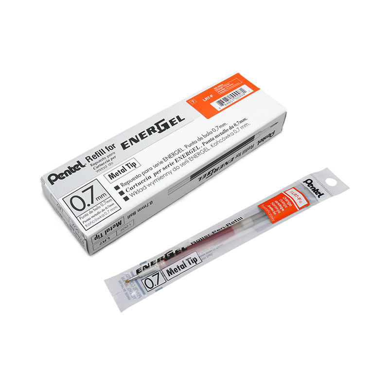 Pentel EnerGel LR7 0.7mm Metal Tip Liquid Gel Pen Refills (12pcs) - Orange Ink [LR7-F]