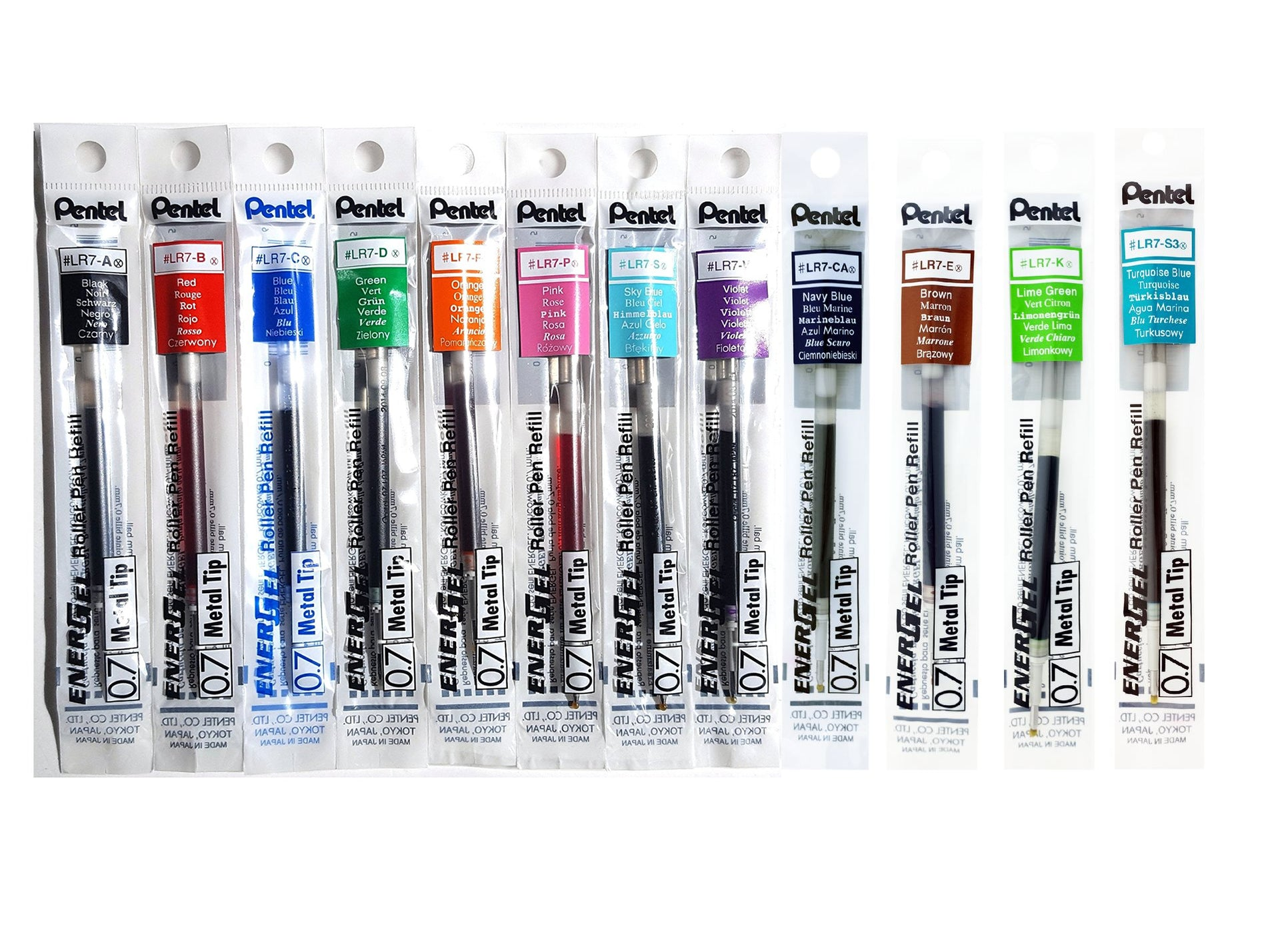 Pentel EnerGel Assorted Colors 0.7mm Metal Tip Gel Pen Refills (12pcs) - Assorted [LR7]