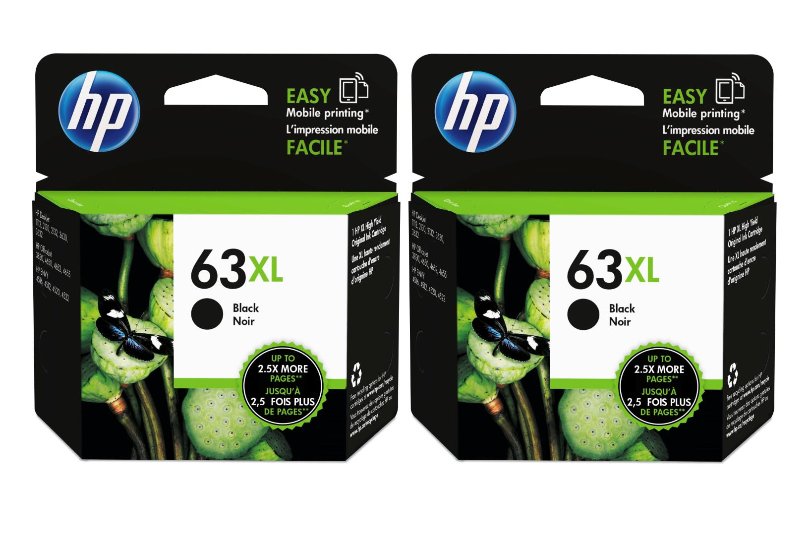 HP Ink Cartridge (for OfficeJet 3830/4650) (Twin Pack) - Black [63XL]