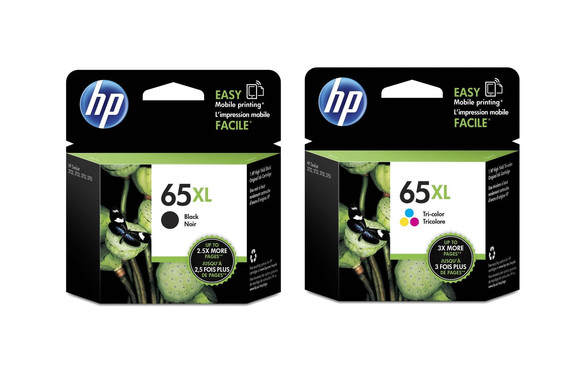 HP Black + Tri-color Ink Cartridge (for DeskJet 2220/2255/3720/3755) - Assorted [65XL]