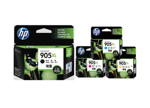 HP 4-Color BK/C/M/Y Ink Cartridges (for OfficeJet Pro 6960/6970) - Assorted [905XL]