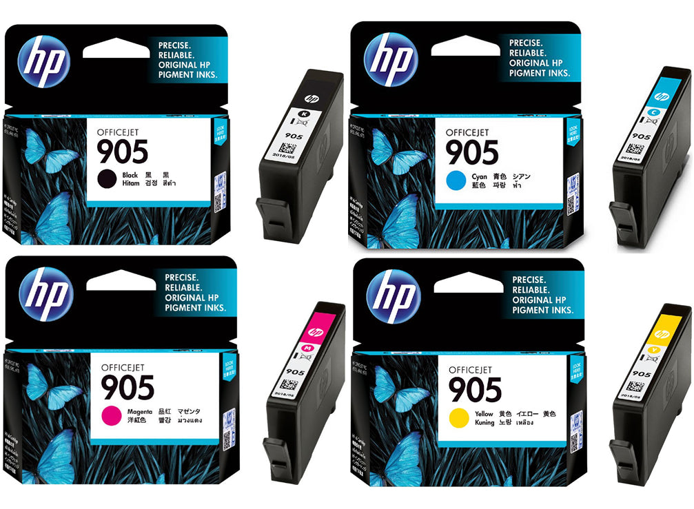 HP 905 4-Color BK/C/M/Y Ink Cartridges (for OfficeJet Pro 6960/6970) - Assorted [905BKCMY]