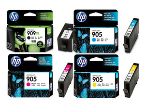 HP 909XL Black + HP 905 C/M/Y Ink Cartridges (for OfficeJet Pro 6960/6970)(4pcs) - Assorted [909XLBK_905CMY]