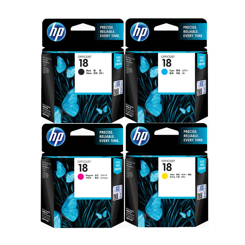 HP 18 4-Color BK/C/M/Y Ink Cartridges (for OfficeJet Pro 7300/K5300) - Assorted [18BKCMY]