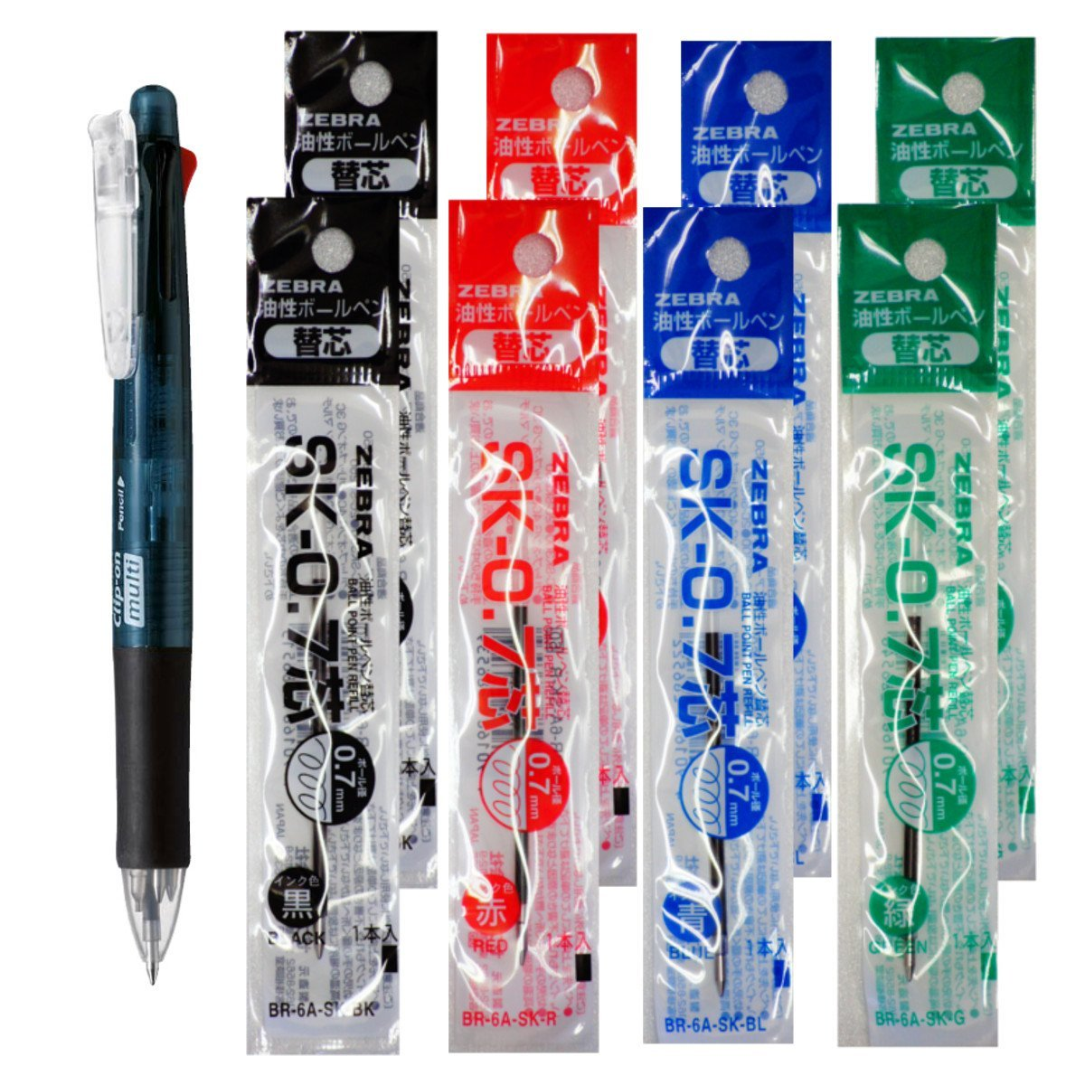 Zebra B4SA1 Black Pen + SK-0.7 Black, Blue, Red and Green 0.7mm Refills (8pcs) - Assorted [B4SA1_8-SK-0.7]