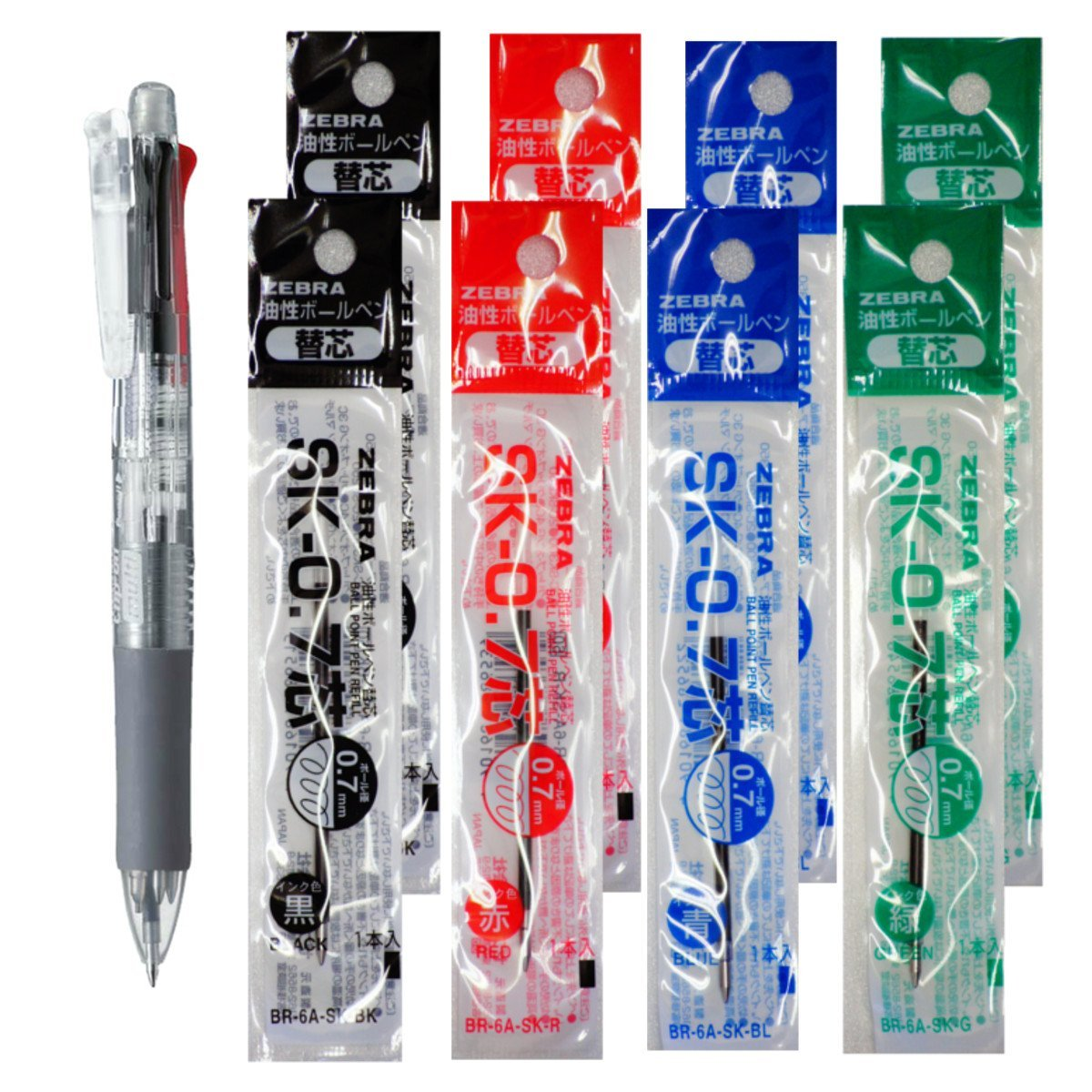 Zebra B4SA1 Transparent Pen +SK-0.7 Black, Blue, Red, Green 0.7mm Refills (8pcs) - Assorted [B4SA1_8-SK-0.7]