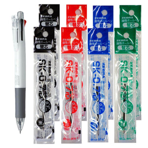 Zebra B4SA1 White Pen + SK-0.7 Black, Blue, Red and Green 0.7mm Refills (8pcs) - Assorted [B4SA1_8-SK-0.7]