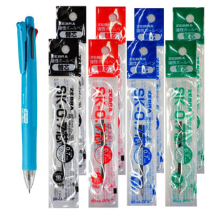 Zebra B4SA1 Light Blue Pen + SK-0.7 Black, Blue, Red, Green 0.7mm Refills (8pcs) - Assorted [B4SA1_8-SK-0.7]