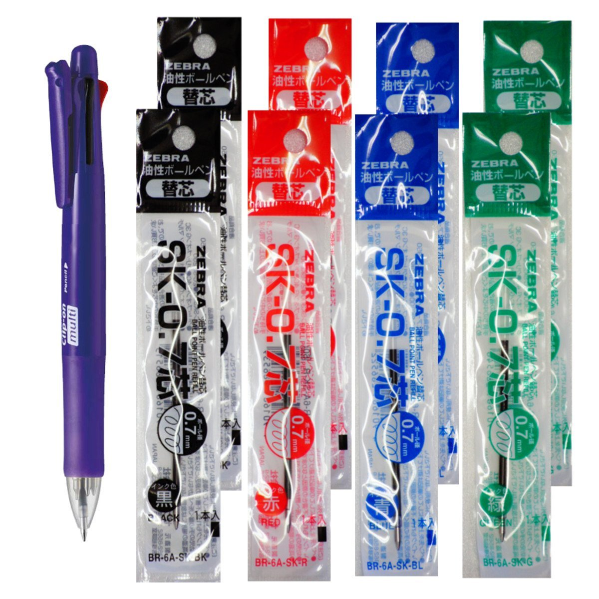 Zebra B4SA1 Violet Pen + SK-0.7 Black, Blue, Red and Green 0.7mm Refills (8pcs) - Assorted [B4SA1_8-SK-0.7]