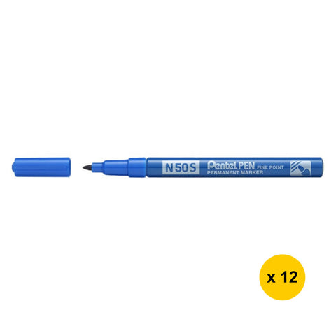 [Today ONLY] Pentel N50S Bullet Point S Permanent Markers (Pack of 12) - Blue