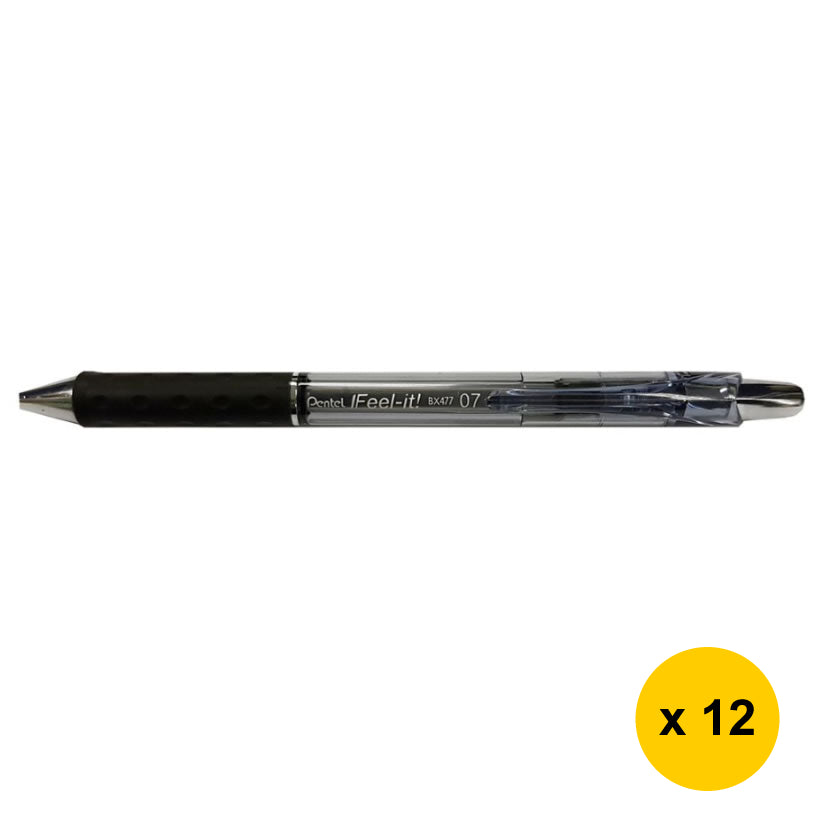 Pentel Feel-it BX477 0.7mm Retractable Ballpoint Pens (Pack of 12) - Black [BX477-A]