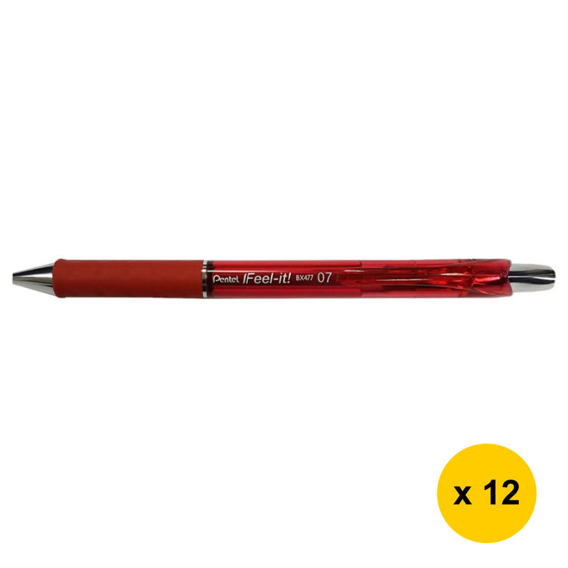 Pentel Feel-it BX477 0.7mm Retractable Ballpoint Pens (Pack of 12) - Red [BX477-B]