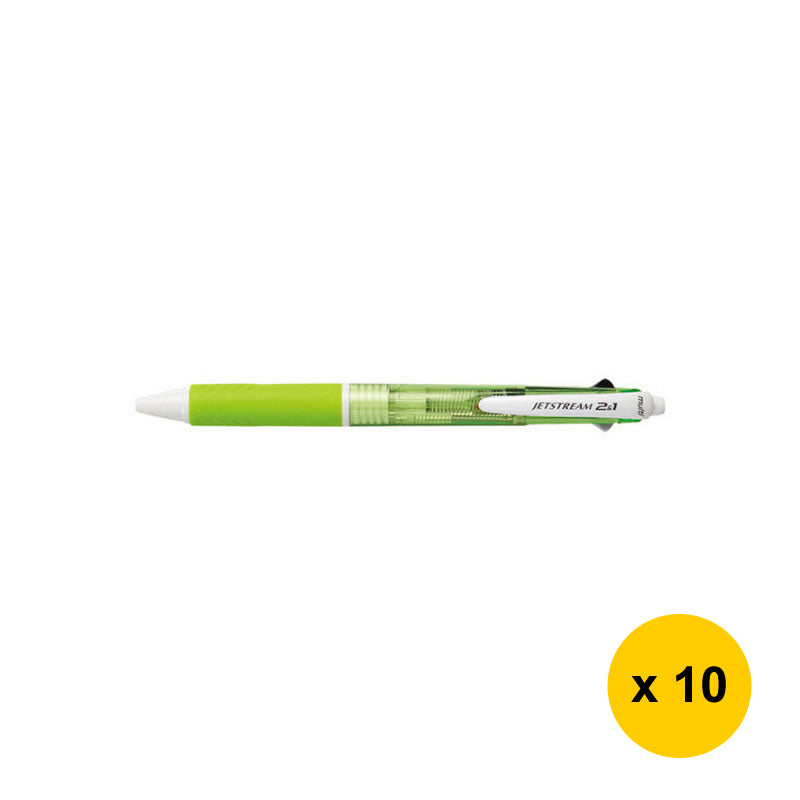 Uni Jetstream 2&1 0.7mm Multifunctional Pens (Pack of 10) - Green [MSXE3-500-07]