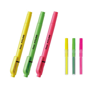 Pentel FITLINE SLW11 Twin Tip Highlighters (3 Colors) + SLR3 Refills (3 Colors) - Assorted [SLW11-3-SLR3-3]