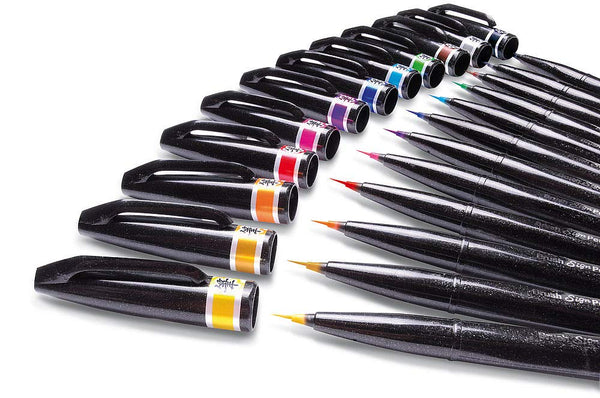 Pentel Artist Assorted Caligraphy Fine Point Brush Sign Pens(Pack of 12) - Assorted [SESF30C]
