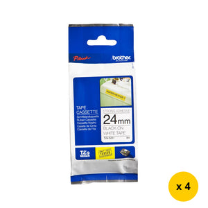 Brother TZe-S251 Strong Adhesive 24mm Tape Cassettes (4pcs) - Black on White