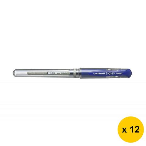 Uni Signo Broad 1.0mm Gel Ink Ballpoint Pens (Pack of 12) - Blue [UM-153]