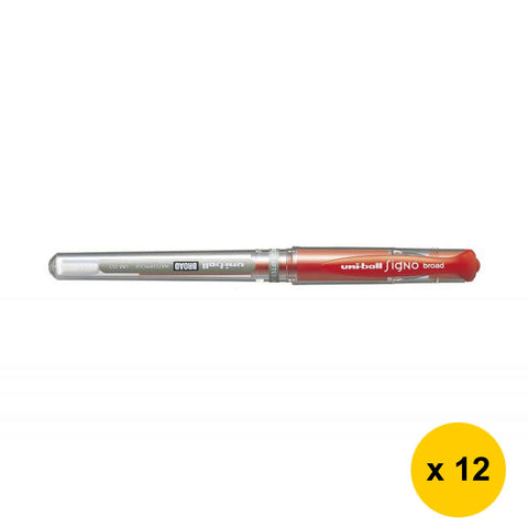 Uni Signo Broad 1.0mm Gel Ink Ballpoint Pens (Pack of 12) - Red [UM-153]
