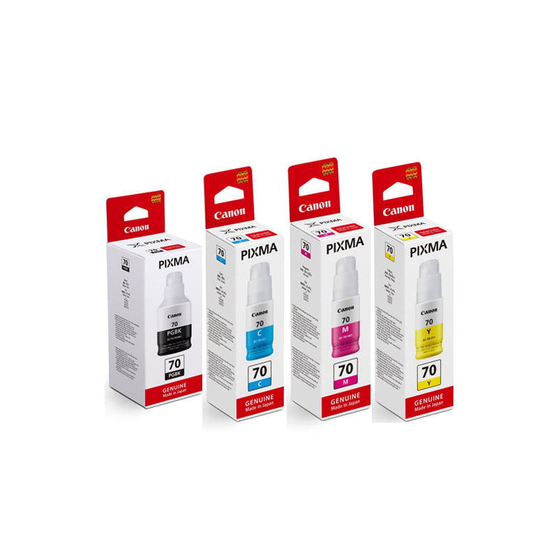 Canon PIMXA Black, Cyan, Magenta and Yellow Ink Tanks (for G5070/G6070) - Assorted [GI-70]