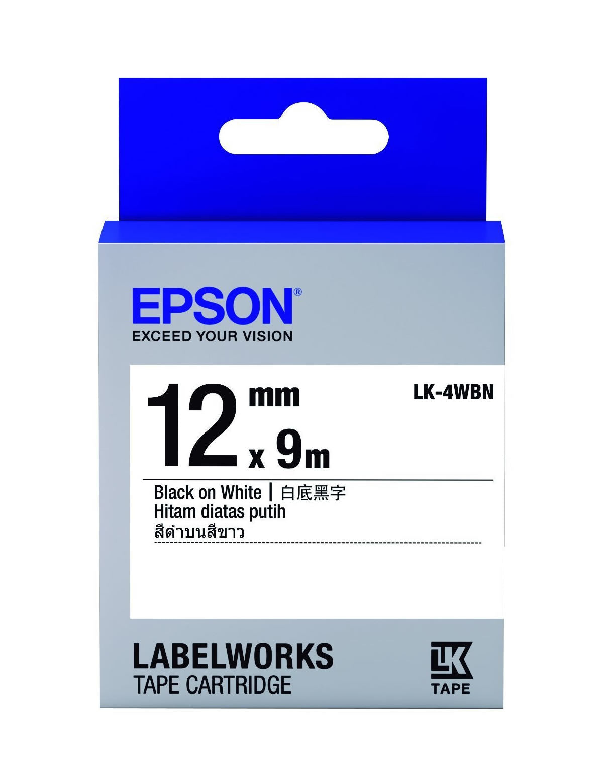 Epson LABELWORKS 12mm Tape Cartridge - Black on White [LK-4WBN]