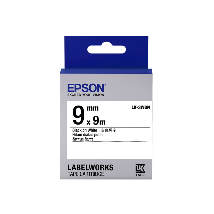 Epson LABELWORKS LK-3WBN 9mm Tape Cartridges (Pack of 6) - Black on White