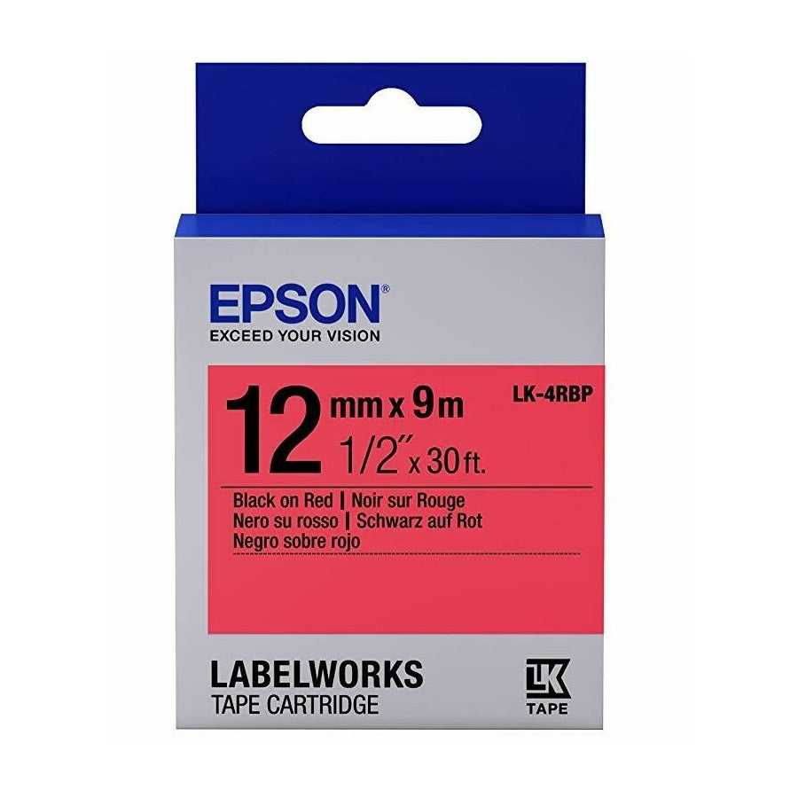 Epson LABELWORKS 12mm Tape Cartridges (Pack of 4) - Black on Red [LK-4RBP]