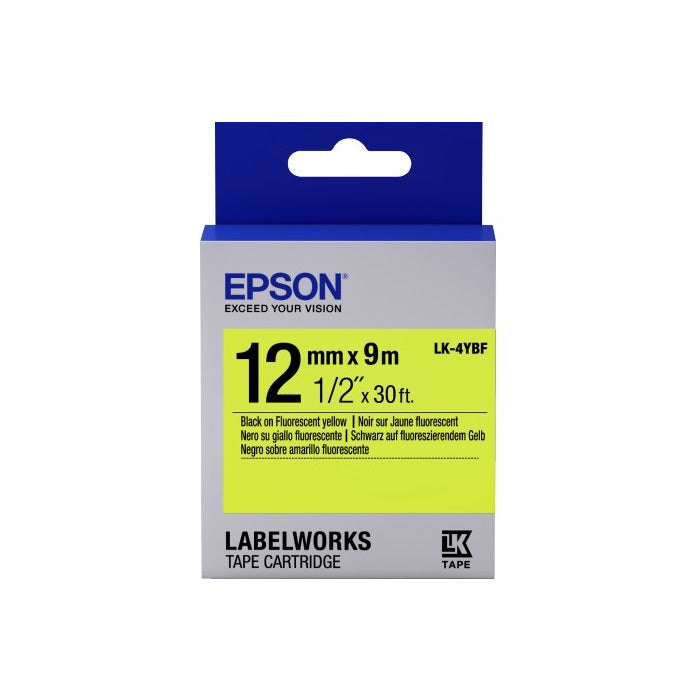 Epson LABELWORKS 12mm Tape Cartridges (Pack of 4) - Black on Fluorescent Yellow [LK-4YBF]
