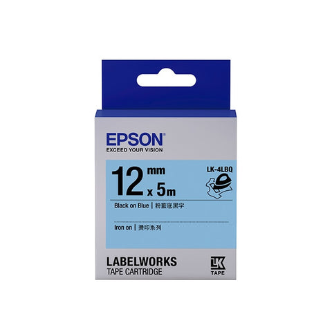 [Today ONLY] Epson LABELWORKS Iron On LK-4LBQ 12mm Tape Cartridge - Black on Blue