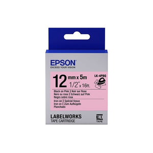 Epson LABELWORKS Iron On LK-4PBQ 12mm Tape Cartridges (Pack of 4) - Black on Pink